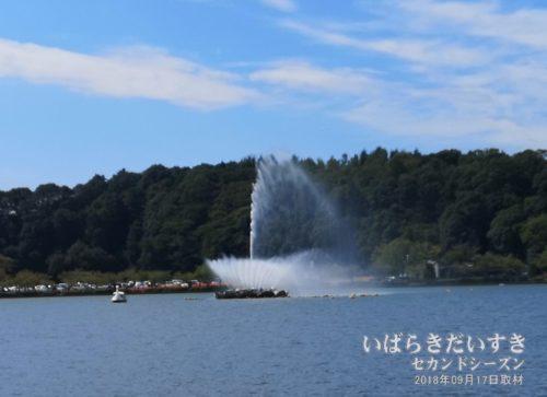 千波湖の噴水