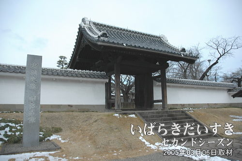 弘道館 正門通常は右手奥にある通用門から出入りします。正門は皇族方のみに利用されていました。2005年に正門の補修修理が完了した後、梅まつりの時期にのみ、一般開放(開門)されるようになりました。