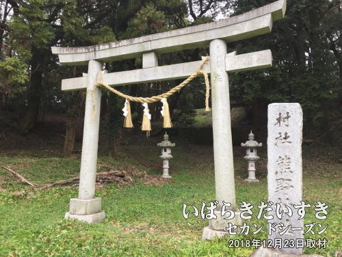 村社 熊野神社<br>小高い山のような地形になっており、山の上に拝殿、神殿、分祀の祠が配置されています。いつにも増して、神聖な雰囲気が強いように感じられました。