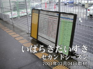 上野方面に戻って行きますと、時刻表が金網に立てかけられています。これから設置されるのでしょうか?