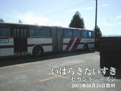 旭川電気軌道のバス敷地内にある連節バス〔2001年01月現在〕