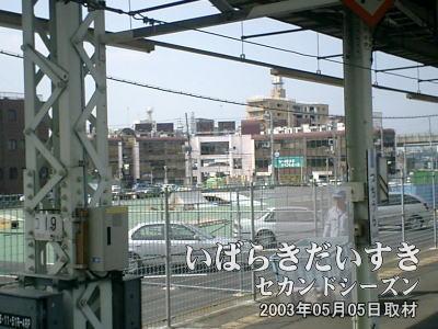 土浦駅2番線ホームからイトーヨーカドー旧土浦店を眺めます。遠くに見える茶色い3階建ての商業ビルが「モール505」です。