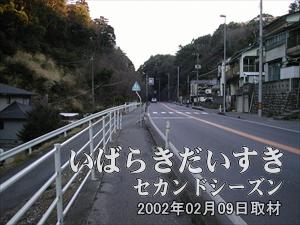 【左手に民宿がたくさん】<br>ハイキングコースでない、国道沿いを歩きます。交通量がすごいです。
