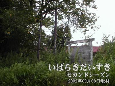 【四角いフレートと木製の駅名標?】駅の看板(右)や、フレーム(左)があります。駅名標の文字は読み取れません。