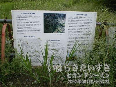 【小田城跡を知らせる案内板】筑波鉄道は小田城のど真ん中を突き進んでいました。ただいま遺跡調査中。