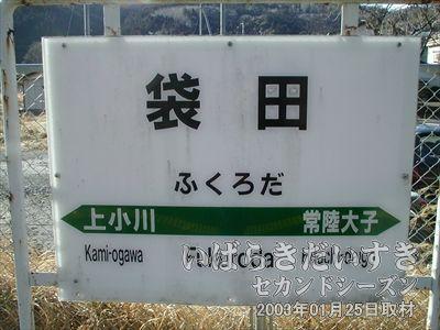 【水郡線 袋田駅 駅名標】<br>JRのハイキングコースに指定されており、今日はイベント実施日。混んでいました。