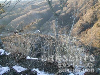 【思い出浪漫館から袋田の滝入口までの遠景】<br>こんな高いところまで登ってきてしまいました。とにかく風が強くて、体ごと風で持って行かれそうです(>O<)。