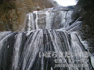 【袋田の滝 正面】<br>正面から見た袋田の滝。4つの滝の段があることから、「4度の滝(四度の滝)」とも呼ばれています。