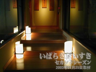 【豊年万作 入浴場への渡り廊下】<br>地面に置かれた間接照明が高級感を増しています。こういうの重要です。