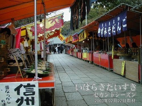 常磐神社への道<br>出店の数がたいへん多い。梅が2部咲きでも関係ありません。