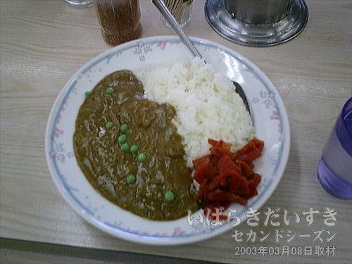 成田駅のカレーライス<br>いかにもレトルトなのですが、こういうところで食べるとまたおいしいものです。