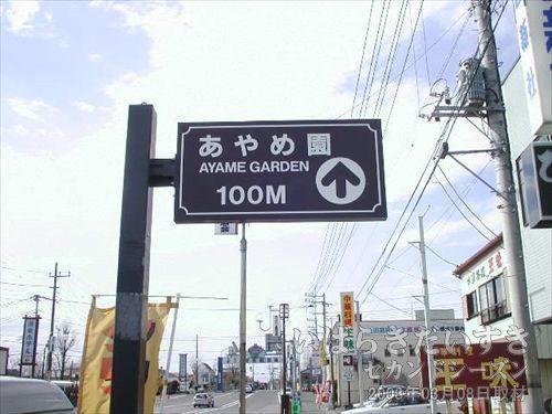 あやめ園への案内標識<br>潮来駅前の県道101号には、「あやめ園」を案内する標識がありました。