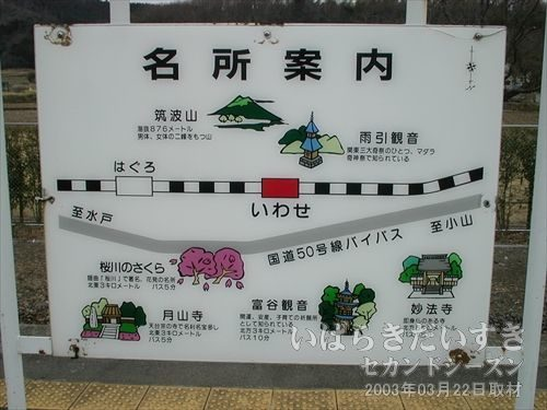 岩瀬駅の名所案内<br>筑波山や雨引観音、桜川のさくら、富谷観音の文字。筑波鉄道の文字は無いので、以降に作成された案内板なのでしょう。