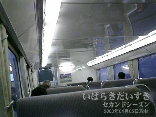 常磐線 415系<br>天井が低く、圧迫感があります。