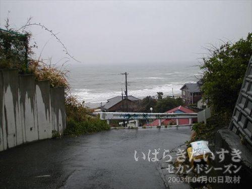 海が見える<br>日立駅海岸口から徒歩数分、坂道の先には海が見えます。