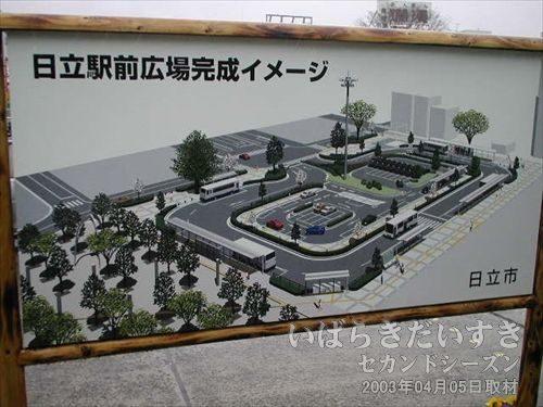 日立駅前広場完成イメージ<br>日立駅中央口駅前は整備されている途中なのでしょうかね?