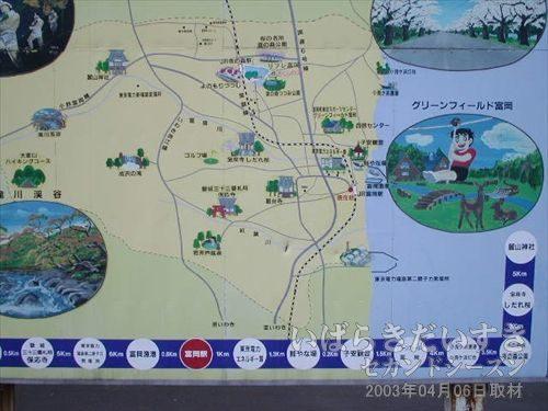 駅前の周辺地図の看板<br>常磐線の線路は、富岡駅だけ海寄りに近づいて設けられているんですね。
