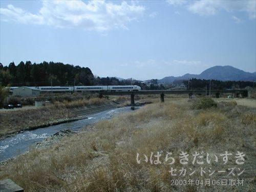 スーパーひたち号<br>あの線路を伝っていけば、金山トンネル(竜田駅側)がありそうです。