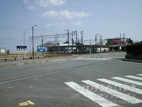 竜田駅の文字が見えます<br>常磐線の線路と共に、竜田駅の文字。