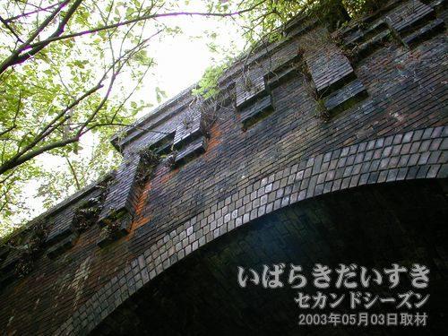 ゴシック調に積まれたレンガ<br>現行トンネルとは異なり、厳粛なたたずまいを見せます。
