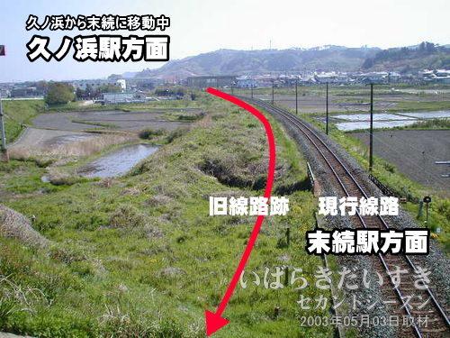 旧線路跡が見える<br>県道395号から分岐した県道246号の跨線橋から久ノ浜方面を振り返ります。現行線路向かって左側に、うっすらと線路があったように見えます。