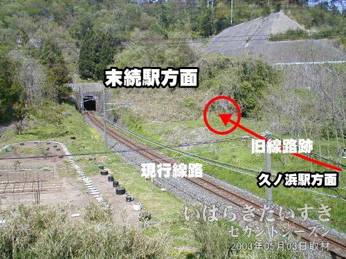 現行 原見坂トンネル<br>末続駅方面に視線を向けると、現行の原見坂トンネルがはっきり見えます。その右手にうっすらと、廃棄された旧トンネル原見坂トンネルがあるように感じられます。