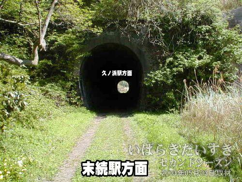 館ノ山トンネル〔末続駅側〕<br>こちら側の方が草木に囲まれ、こんもりした印象を受けます。