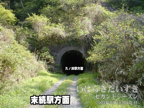 常磐線 旧トンネル 大沢トンネル〔末続駅方面〕<br>木々に囲まれるようにして、トンネルがあります。反対側の出口の光が見えません。