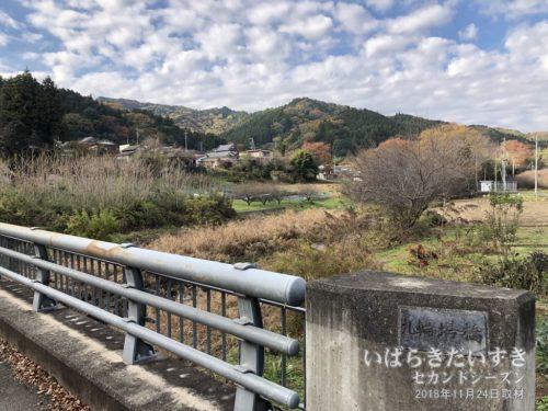 山田川と常陸太田の山々。