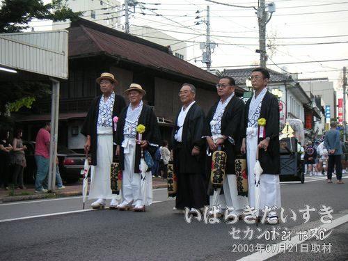 八坂神社役員の記念撮影<br>神輿の前で導く方々です。