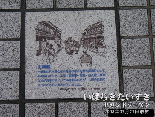 「土浦宿」の石<br>土浦宿は日本橋と水戸を結ぶ水戸街道の宿場町としても発展しました。本陣、問屋場、旅籠、商人宿、茶屋などが商家にまじって街道筋にならび、人馬の往来で大いににぎわいをみせていました。