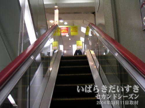 丸井土浦店 エスカレーター<br>翌日の閉店日にも来るつもりなので、買い物はせず。店内は閉店セールで賑わっていました。