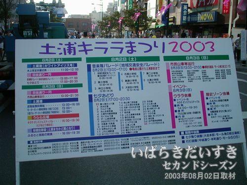 土浦キララまつり2003 プログラムボード<br>開催期間が3日間から2日間に減ってしまいましたが、内容の充実した2日間になりそうです。