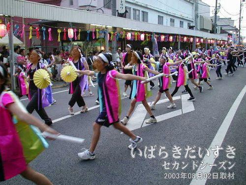 桜ヶ丘ハッピー連<br>2列で踊っていますが、右の列と左の列の踊りが、まったく違う踊りになっています。