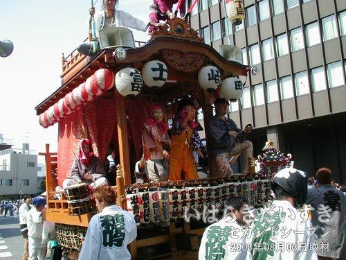 富士崎1・2丁目の山車<br>二人のひょっとこが踊っています。