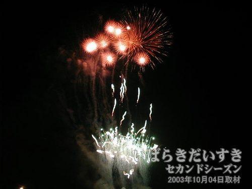 82:桜川の夜空に麗花の響き<br>筑北火工堀米煙火店