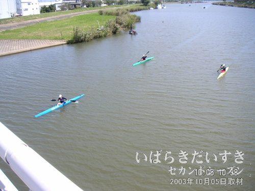 カヌーで川上り<br>水郷大橋から桜川に目を落すと、カヌーが3隻。スポーツの秋、って感じですね~。