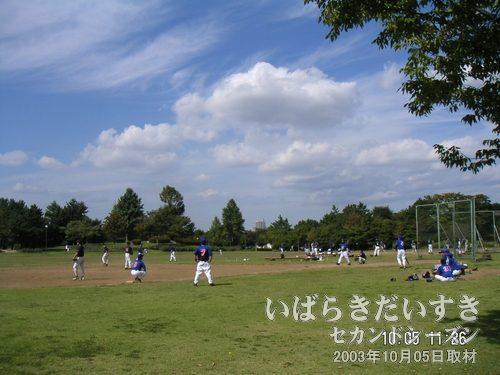 野球場<br>アマチュアのチームが試合をしています。