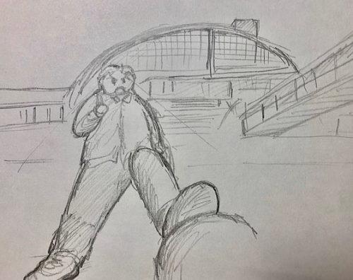 常磐線 ひたち野うしく駅に降り立つ若きときの幸甚氏(今も若い)