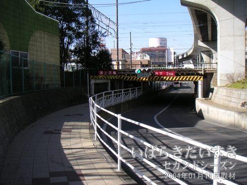 川口川閘門 跡(常磐線線路下)<br>昔ここは亀城公園方面から桜川の水が流れ、霞ヶ浦へ注ぎ込んでいました。