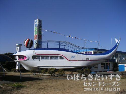 打ち上げられた ふりっぱー号<br>かつては霞ヶ浦を周遊する観光船でしたが、現在は陸に打ち上げられ、土浦港のシンボルになっています。