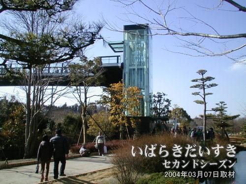 偕楽園 梅桜橋2000年中頃に架けられた常磐線をまたいで護国神社方面に渡れる橋。