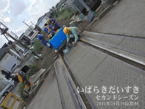 関東鉄道常総線 も整備中<br>取手駅と水海道駅、下館駅を南北につなぐ常総線。線路を補修しています。