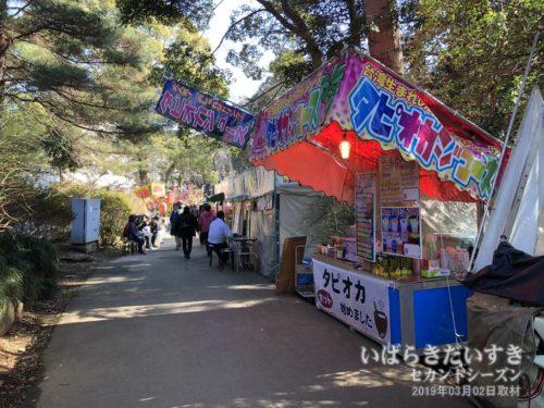 常磐神社、偕楽園は出店で賑わいます。