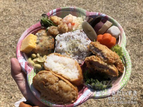 見晴らし広場で、山翠さんの弁当をいただきます。