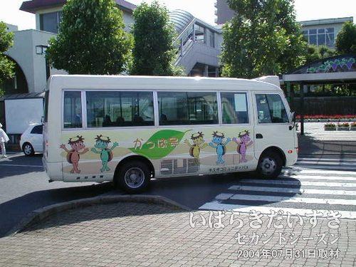 コミュニティバス かっぱ号<br>1回100円で乗車できるバス。規制緩和で生まれた、新しいバスのあり方です。