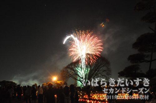 夜梅祭<br>花火の打ち上げ。
