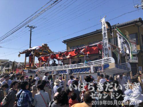 神船の横には綱が張ってある<br>神船の停止中、曳き手は綱を持ち、体重をかけて船を左右に揺らします。