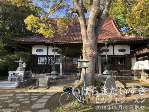 長松寺 本堂〔茨城県北茨城市大津町〕境内までは自転車で上ってくることができます。