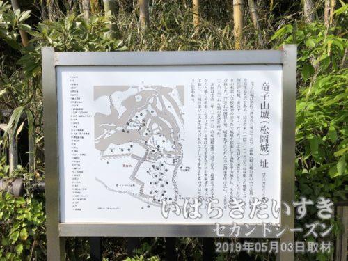 竜子山城(松岡城)址 の看板<br>松岡小学校の都なりにある、公園のところがメインの入口だった。